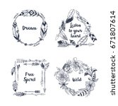 hand drawn boho style frames... | Shutterstock .eps vector #671807614