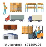 warehouse and logistics... | Shutterstock .eps vector #671809108