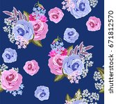seamless vintage pattern with... | Shutterstock . vector #671812570