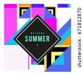 trendy vector summer cards... | Shutterstock .eps vector #671812870