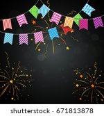 colorful confetti background... | Shutterstock .eps vector #671813878