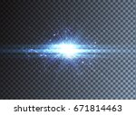 light effect  glowing flare  on ... | Shutterstock .eps vector #671814463