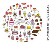 hand drawn doodle sweets set.... | Shutterstock .eps vector #671815153