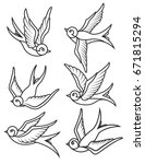 Set Of Swallow Tattoo Template...