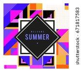 trendy vector summer cards... | Shutterstock .eps vector #671817583