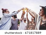 making toast at the summer... | Shutterstock . vector #671817889
