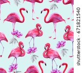 background of pink flamingos.... | Shutterstock . vector #671821540