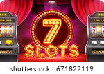 3d slots machine wins the... | Shutterstock .eps vector #671822119