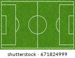 green soccer field with white... | Shutterstock . vector #671824999