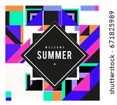 trendy vector summer cards... | Shutterstock .eps vector #671825989
