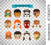 face painting  kids faces with... | Shutterstock .eps vector #671826574