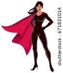 asian super heroine over white... | Shutterstock .eps vector #671831014
