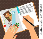 girls diary with writing... | Shutterstock .eps vector #671831683