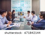 group of asian business team... | Shutterstock . vector #671842144