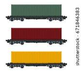 set of cargo railway containers ... | Shutterstock .eps vector #671846383