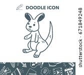 kangaroo doodle   Shutterstock .eps vector #671849248