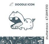 hippo doodle | Shutterstock .eps vector #671849350