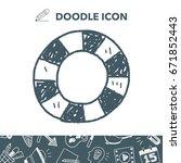 lifebuoy doodle | Shutterstock .eps vector #671852443