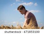 agronomist on barley  cereal...   Shutterstock . vector #671853100