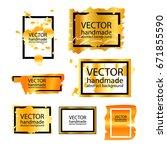 set of golden abstract gradient ... | Shutterstock .eps vector #671855590