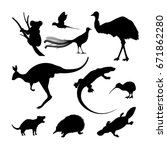 set of black silhouettes of... | Shutterstock .eps vector #671862280