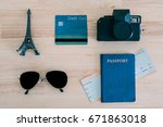 Small photo of Check the items used to travel. Passport, credit cards, sunglasses, airfare and camera.