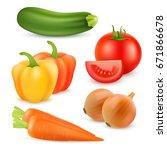 realistic vegetables. tomato ... | Shutterstock .eps vector #671866678