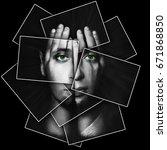 face shines through hands  face ... | Shutterstock . vector #671868850