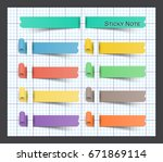 sticky note on paper . | Shutterstock .eps vector #671869114