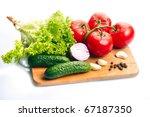 fresh vegetables on wooden...