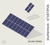 solar panels in isometric view... | Shutterstock .eps vector #671873926