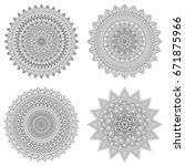 set of floral mandalas  vector... | Shutterstock .eps vector #671875966