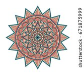 color floral mandala  vector... | Shutterstock .eps vector #671875999