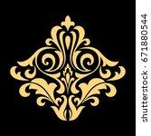 golden pattern on a black... | Shutterstock . vector #671880544