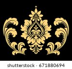 golden pattern on a black... | Shutterstock . vector #671880694