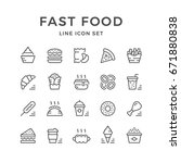 set line icons of fast food...