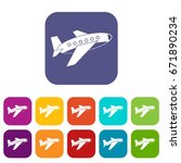 airplane icons set vector...   Shutterstock .eps vector #671890234