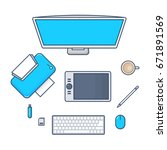 set of desk technology with pc... | Shutterstock .eps vector #671891569