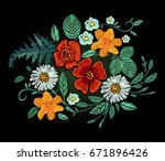 vector embroidery design. red... | Shutterstock .eps vector #671896426