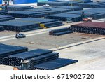 steel products  pipes  in port  ... | Shutterstock . vector #671902720