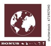 globe world icon flat. white... | Shutterstock .eps vector #671907040
