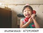 Little Cute Asian Girl Talking...
