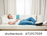 smiling man in white t shirt... | Shutterstock . vector #671917039