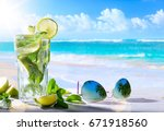 tropic summer vacation  exotic... | Shutterstock . vector #671918560