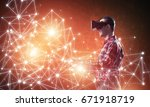young man with virtual reality... | Shutterstock . vector #671918719
