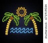 sunny summer. neon pattern... | Shutterstock .eps vector #671919034