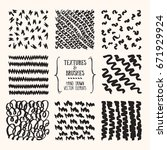 hand drawn textures and brushes.... | Shutterstock .eps vector #671929924