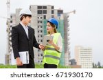 engineer and architects... | Shutterstock . vector #671930170