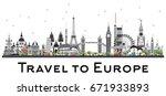famous landmarks in europe.... | Shutterstock .eps vector #671933893