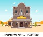 cartoon building saloon on a... | Shutterstock .eps vector #671934880